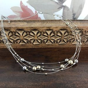 Gold Silver Beads INVISIBLE Choker Necklace